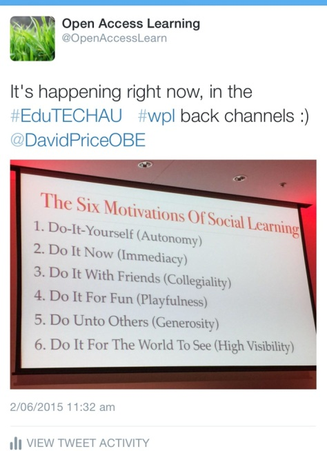 Six motivations of social learning tweet